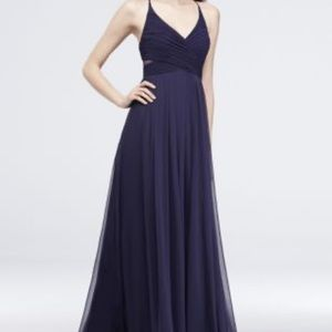 Davids Bridal Navy blue bridesmaid dress